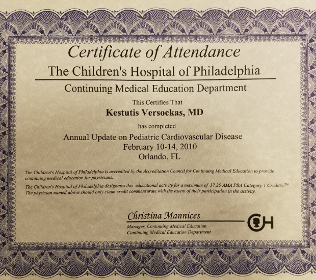 certificate of attendance - medical education department